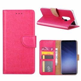 Merkloos Samsung Galaxy S9 Plus  Booktype / Portemonnee TPU Lederen Hoesje Roze