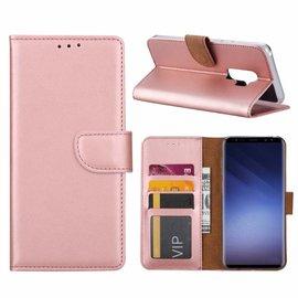 Merkloos Samsung Galaxy S9 Plus  Booktype / Portemonnee TPU Lederen Hoesje Rose Goud