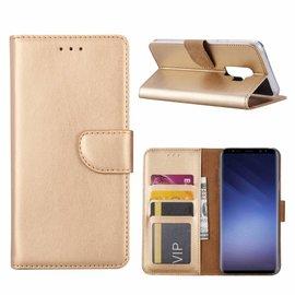 Merkloos Samsung Galaxy S9+ Plus Booktype / Portemonnee TPU Lederen Hoesje Goud