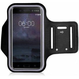 Merkloos Universele Zwart Sportarmband met Sleuterhouder Nokia 8 / 7 / 5 / 3 / 2