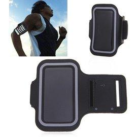 Merkloos Universele Zwart Sportarmband met Sleuterhouder Motorola Moto G5S Plus / E4 Plus