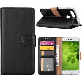 Merkloos Huawei P Smart Booktype / Portemonnee TPU Lederen Hoesje Zwart