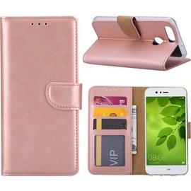 Merkloos Huawei P Smart Booktype / Portemonnee TPU Lederen Hoesje Rose Goud