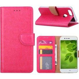 Merkloos Huawei P Smart Booktype / Portemonnee TPU Lederen Hoesje Roze
