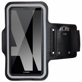 Merkloos Universele Zwart Sportarmband met Sleuterhouder Huawei P20 Pro / Y9 (2018)/ Mate 10 Pro / Nokia 7 plus /OnePlus 5T