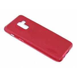 Merkloos Samsung Galaxy A8 (2018) Rood Glitter TPU Back Cover Hoesje