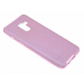 Merkloos Samsung Galaxy A8 (2018) Roze Glitter TPU Back Cover Hoesje