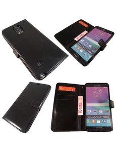 Merkloos Samsung Galaxy Note 4 wallet boek leather Case hoesje Zwart
