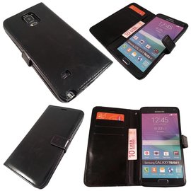 Merkloos Samsung Galaxy Note 4 wallet boek leather  Case hoesje Zwart