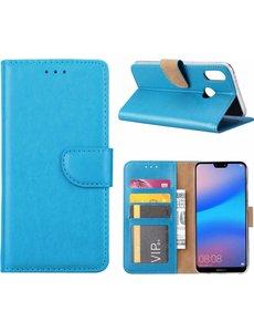 Merkloos Hoesje voor Huawei P20 Lite Portmeonnee hoesje Blauw