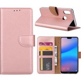 Merkloos Hoesje voor Huawei P20 Lite Portmeonnee hoesje Rose Goud