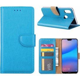 Merkloos Hoesje voor Huawei P20 Portmeonnee hoesje Blauw
