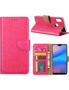 Merkloos Hoesje voor Huawei P20 Portmeonnee hoesje Pink