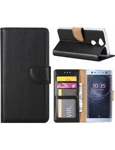 Merkloos Sony Xperia XA2 Portmeonnee cover hoesje / boektype case Zwart