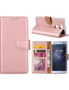 Merkloos Sony Xperia XA2 Portmeonnee cover hoesje / boektype case Rose Goud