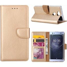 Merkloos Sony Xperia XA2 Portmeonnee cover hoesje / boektype case Champagne Goud