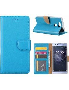 Merkloos Sony Xperia XA2 Portmeonnee cover hoesje / boektype case Blauw