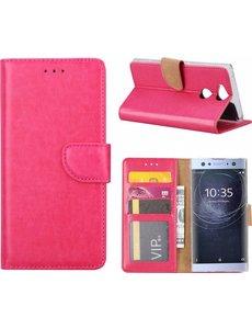 Merkloos Sony Xperia XA2 Portmeonnee cover hoesje / boektype case Pink