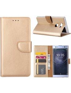 Merkloos Sony Xperia XA2 Ultra Portmeonnee cover hoesje / boektype case Champagne Goud