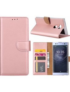 Merkloos Sony Xperia XA2 Ultra Portmeonnee cover hoesje / boektype case Rose Goud