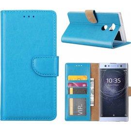 Merkloos Sony Xperia XA2 Ultra Portmeonnee cover hoesje / boektype case Blauw