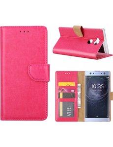 Merkloos Sony Xperia XA2 Ultra Portmeonnee cover hoesje / boektype case Pink