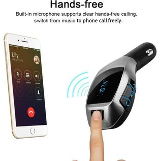 Merkloos X5 MP3 Bluetooth Adapter / Wireless Bluetooth FM Transmitter Radio Adapter Car Kit Met USB SD Card Reader en Calling Remote Control  voor iPhone X / Xs / 8 / 8 Plus / SE / Samsung Galaxy S9 / S9 Plus / Note 8 / S8 / S8 plus / S7 edge / S7 / Huawei / LG /