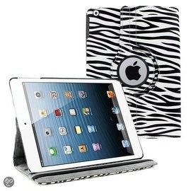 Merkloos iPad Air 360 Rotatie Hoes, Cover, Case Zebra Design kleur Wit / Zwart