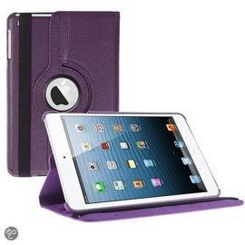 Merkloos iPad Mini 3 hoesje Cover Multi-stand Case 360 graden draaibare Beschermhoes paars