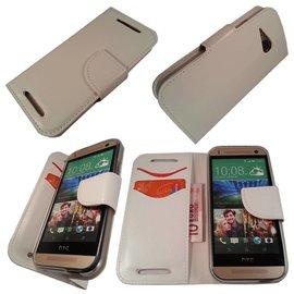 Merkloos HTC One M8 Mini Boek Silicone Case Hoesje Wit
