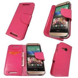 Merkloos HTC One M8 Boek Silicone Case Hoesje Pink /  Roze