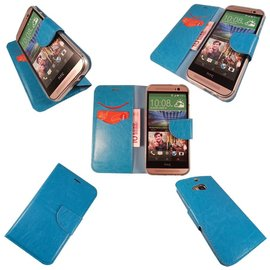 Merkloos HTC One M8 Mini Boek Silicone Case Hoesje Blauw