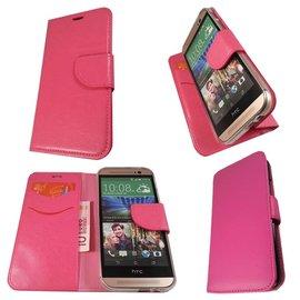 Merkloos HTC One M8 Mini Boek Silicone Case Hoesje Roze