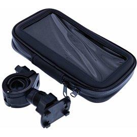 Merkloos Zwart Fiets Houder Universeel Waterdicht & Shockproof Large Hoesje Motorola Moto E5 Plus