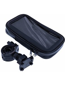 Merkloos Zwart Fiets Houder Universeel Waterdicht & Shockproof Large Hoesje Motorola Moto E5 Play
