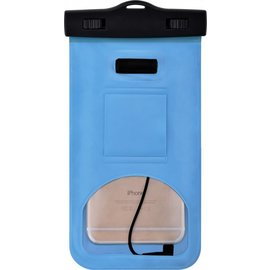 Merkloos Neon Multi Functional Waterdichte hoesje Pouch Met Audio Jack Samsung Galaxy A6 Plus (2018) Blauw