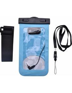 Merkloos Neon Multi Functional Waterdichte hoesje Pouch Met Audio Jack Motorola Moto E5 Plus Blauw