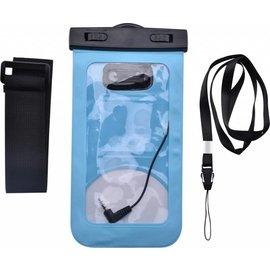 Merkloos Neon Multi Functional Waterdichte Hoes Pouch Met Audio Jack Motorola Moto E5 Plus Blauw