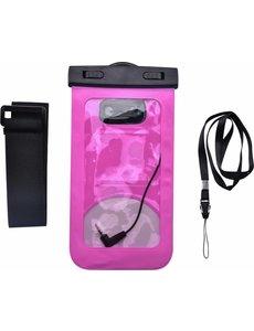 Merkloos Neon Multi Functional Waterdichte hoesje Pouch Met Audio Jack Motorola Moto E5 Plus Roze