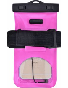 Merkloos Neon Multi Functional Waterdichte hoesje Pouch Met Audio Jack LG Q7 Roze