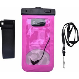Merkloos Neon Multi Functional Waterdichte hoesje Pouch Met Audio Jack Huawei Y6 (2018) Roze