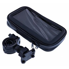 Merkloos Zwart Fiets Houder Universeel Waterdicht & Shockproof Large Hoesje Sony Xperia XZ2 Premium