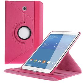 Merkloos Samsung Galaxy Tab 4 8.0 T330 Tablet draaibare case cover hoesje Pink / Roze