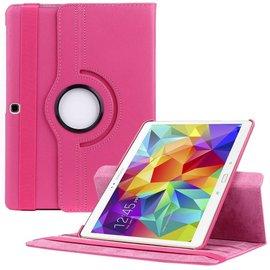 Merkloos Samsung Galaxy Tab S 10.5 inch T800 / T805 Tablet hoesje met 360° draaistand Case Cover kleur Roze Pink