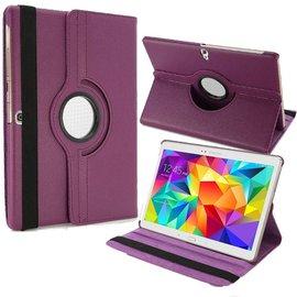 Merkloos Samsung Galaxy Tab S 10.5 inch T800 / T805 Tablet hoesje met 360° draaistand Case Cover kleur Paars