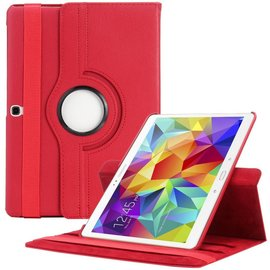 Merkloos Samsung Galaxy Tab S 10.5 inch T800 / T805 Tablet hoesje met 360° draaistand Case Cover kleur Rood