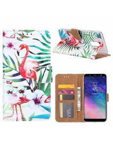 Merkloos Samsung Galaxy A6+(Plus) Tropische Flamingo Design Booktype Kunstleer Hoesje Met Pasjesruimte