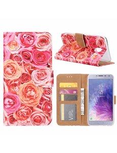 Merkloos Samsung Galaxy J4 (2018) Roos Design Booktype Kunstleer Hoesje Met Pasjesruimte