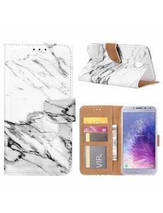 Merkloos Samsung Galaxy J4 (2018) Marmer Design Booktype Kunstleer Hoesje Met Pasjesruimte
