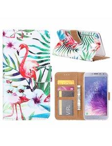 Merkloos Samsung Galaxy J4 (2018) Tropische Flamingo Design Booktype Kunstleer Hoesje Met Pasjesruimte